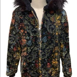 Vintage velvet hooded jacket with floral print
